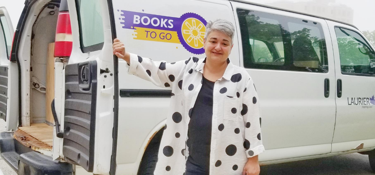Gohar Ashoughian in front of book mobile