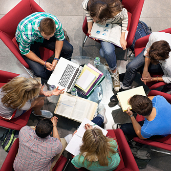 Group photo of students studying